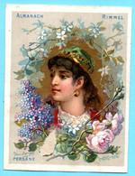 Une Chromo RIMMEL Almanach Calendrier 1884, Fleurs D'Orient. Buste De Fille Persane.Renseignements Utiles. - Small : ...-1900