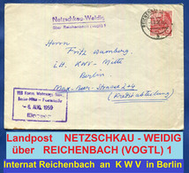 1957  NETZSCHKAU - WEIDIG  über  REICHENBACH (VOGTL) 1   LANDPOST  Brief 1959 Aus Internat An KWV VEB Komm. Berlin-Mitte - Briefe U. Dokumente