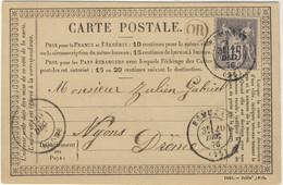 FRANCE 1876 - DRÔME - Yv.77 Sur CP Précurseur De  RÉMUZAT (t.17) à NYONS (t.18) Avec OR (Origine Rurale Non Identifiée) - 1877-1920: Période Semi Moderne