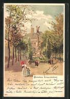 Lithographie Bielefeld, Das Kriegerdenkmal - Bielefeld
