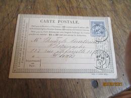 Bouchain  Cachet Type 18 Carte Precurseur Millesime Juillet 1877 Timbre Sage 15 C Gris - 1849-1876: Klassieke Periode