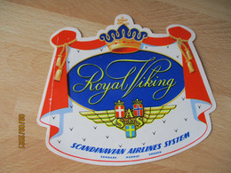 S A S Royal Viking Scandinavian Airline Systeme Etiquette Valise Bagage - Adesivi Di Alberghi