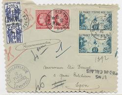 FRANCE MAZELIN 1FRX2+50C CHAINEX2+ 2FR FRANCE OUTREMERX2 DEVANT LETTRE REC PROVISOIRE LENS PAS DE CALAIS 20.10.45 - 1945-47 Ceres Of Mazelin