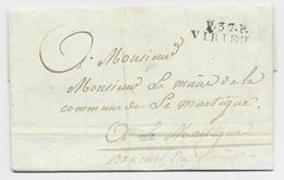FRANCE MARQUE P 37 P VIRIEU 1825 LETTRE ISERE POUR MARTIGUES BOUCHES DU RHONE - 1801-1848: Precursori XIX