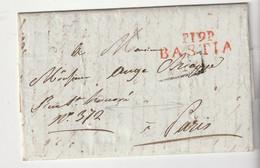 """Lettre Purifiée  Avec Marque Rouge """"P 19 P / Bastia"""" Pour Paris, 1848, Avec Plusieurs Entailles De Purification - 1801-1848: Vorläufer XIX"""