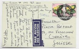 CONGO BELGE 3FRX2 CARTE AVION LEOPOLDVILLE 10.2.1961 POUR GENEVE - 1947-60: Covers
