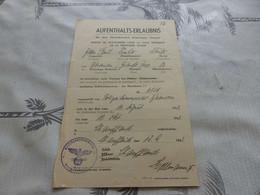 CA-144 , WW2,  Permis De Stationner Dans La Zone Interdite De La Frontière Suisse, Cachet IIIe Reich, 1943 - 1939-45
