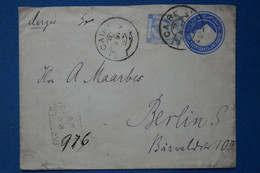 AA4 EGYPTE BELLE LETTRE  1897 CAIRO  POUR BERLIN GERMANY VIA PORT SAID + C. CIRE ROUGE  +AFFRANCHISSEMENT. INTERESSANT - 1866-1914 Ägypten Khediva