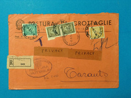 1974 STORIA POSTALE TASSA A CARICO SU RACCOMANDATA PRETURA DI GROTTAGLIE A TARANTO SEGNATASSE 50 + 100 + COPPIA 40 - 1971-80: Marcophilie