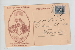 REF4974/ TP 285 S/CP Société Royale Gantoise De Timbrologie 1ère Expo De TP Septembre 1933 > Verviers - Storia Postale