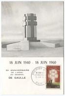 Général De Gaulle - FDC 1er Jour - YT 1264 20ème Anniversaire Appel 18 Juin 1940 - 18 Juin 1960 Paris - 1960-1969