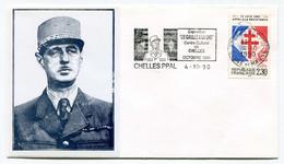 """Général De Gaulle - Enveloppe Avec Flamme Exposition """"De Gaulle à La Une"""" à Chelles  4 Octobre 1990 Avec Timbre YT 2656 - Cachets Commémoratifs"""