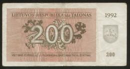 Lithuania 200 Talonas 1992  Pick 43 Fine Series LG - Lithuania