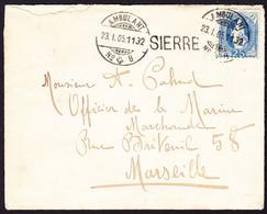 1905  25 Rp Stehende Helvetia Auf Brief Mit Inhalt, Mit Bahnstempel Ambulant, Sierre Nach Marseille, Gelaufen. - Briefe U. Dokumente