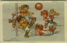 CASTELLI SIGNED 1920s POSTCARD - SPORT - KIDS & SOCCER / CALCIO - N. 571/2  (BG1929) - Castelli
