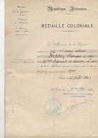 MINISTÉRE   DE LA GUERRE    MÉDAILLE  COLONIALE - Documents