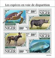 Niger 2021, Animals In Danger, Turtle, Rhino, Jena, Fish, Shape, 4val In BF - Rhinoceros