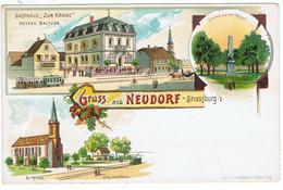 """"""" Gruss Aus Neudorf """" ( Deutsche Reichpost ) / DND - Strasbourg"""