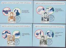 Malaysia 2021 Covid19 Pandemic Coronavirus Frontliners Private Maximum Maxicard Set Of 8 Cards - Maleisië (1964-...)