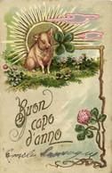 CARTE Gaufrée Illustrateur  Buon Capo D' Anno Cochon Rayons De Soleil Trèfles à Quatre Feuilles Pionnière RV - Other