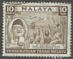Malayan Federation. 1957 Independence Day. 10c Used. SG 5 - Federation Of Malaya