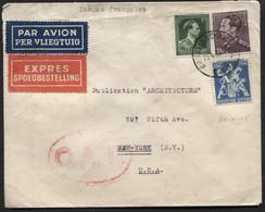 N°434-646-676A Obl. BRUXELLES S/Letrre Par Avion + Exprès + OAT Vers Les USA Le 25/4/45. O.A.T. Par Exprès - Courant - 1936-1951 Poortman