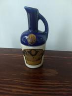 "Vintage Mini Liqueur Jug, ""Curacao Orange Dolfi"", 1/16 Pint Size, Cobalt Blue And Stoneware, France, 1950's - Other Bottles"