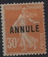 France Maury C.I. 15 (Yvert 141-CI 1) * Semeuse Camée 30c Orange - Cours D'Instruction