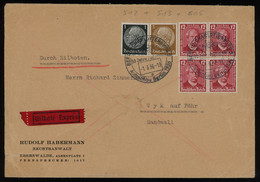 TREASURE HUNT [01452] Germany 1936 Express Cover From Berlin To Wyk Auf Föhr, Bearing Benz 12Pf Red Block Of 4 + Others - Storia Postale
