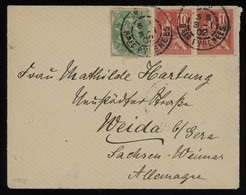 TREASURE HUNT [01478] France 1902 Cover To Weida, Germany Bearing 5c Green + 10c Red (x2) Stamps, Arrival Pmk. On Back - Lettres & Documents