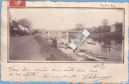 93 - BRY Sur MARNE - Carte Photo De Pont De Bry 1909  Bord De  Marne Avec Ses Pêcheurs à La Ligne - Bry Sur Marne