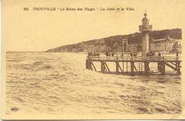 CPA - TROUVILLE - LA JETEE ET LA VILLE - Trouville