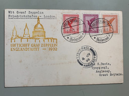 Allemagne Poste Aérienne 28+28+31 Oblit. Friedrichshafen + C.s.i'll. «luftschiff ..Zeppelin»1932 Pour Anglesey - Airmail