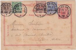 "AFRIQUE ORIENTALE ALL  : ENTIER POSTAL  . AVEC COMPlt D'AFFrt . "" DAR ES SALAAM "" . 1895 . - Kolonie: Deutsch-Ostafrika"