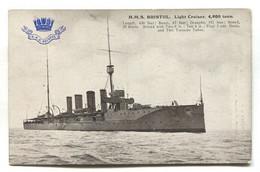 HMS Bristol, British Light Cruiser - Old Postcard - Guerra