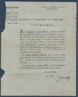 FRDoc  Avril 1803 Document Du Préfet Des Hautes-Alpes Aux Maires : Bâtiments Religieux - Decrees & Laws