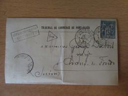 Taxe 20 Manuscrite Sur Lettre Entre Pontarlier Et Chaux-De-Fonds (Suisse) - Timbre Sage 15c N°101 - 1894 - 1877-1920: Période Semi Moderne