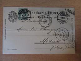 Entier Suisse 5c + Timbre 5c Oblitéré Ambulant + Ambulant Locle à Besançon + Marque Linéaire Locle - 1901 - Entiers Postaux