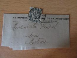 France - Timbre Type Blanc 1c YT N°107 Sur Bande Journal De La Dépèche Républicaine De Franche-Comté - - Journaux