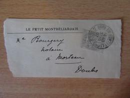 France - Timbre Type Blanc 1c YT N°107 Sur Fragment De Bande Journal Le Petit Montbéliardais - 1907 - Journaux