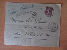 Recommandé Morteau Vers Villars-Le Lac - Timbre Semeuse 35c YT N°136 - 21 Janvier 1907 - Cachet Retour à L'envoyeur - 1877-1920: Période Semi Moderne