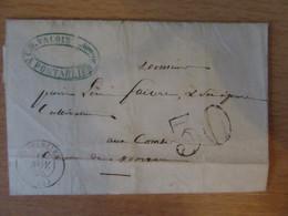 Taxe 30 Au Tampon Sur Lettre Non-affranchie Circulée Entre Pontarlier Et Les Combes Près Morteau - 1856 - 1859-1955 Lettres & Documents
