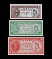 HONG KONG SET 1 5 10 CENTS BANKNOTES (1960's) UNC  Uniface - Hong Kong