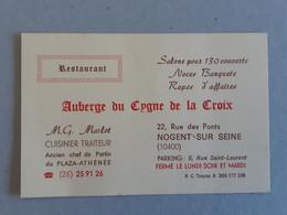 Publicité Du Restaurant - Auberge Du Cygne De La Croix - Nogent Sur Seine ... Lot470 . - Advertising