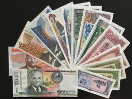 LAOS SET 1 5 10 20 50 100 500 1000 2000 5000 10000 20000 50000 100000 KIP BANKNOTES 1979-2011 UNC - Laos