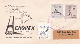 EXPOSITION ET CONGRES AEROPHILATELIQUE, 11º ANNIVERSAIRE PREMIER VOL DIRECT A NEW YORK. HAITI 1966 SPC ENVELOPPE.- LILHU - Airplanes