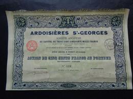 FRANCE - 08 - FUMAU 1924 - ARDOISIERES SAINT GEORGES - ACTION DE 500 FRS - IMP. RICHARD - Unclassified