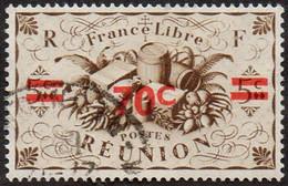 Réunion Obl. N° 254 - Détail De La Série De Londres Surchargé 70c Sur 5 C Sépia - Productions - Usados