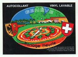 CP Adhesif 401, Blason Adhésif VGE 2, Genève, Horloge Fleurie - GE Geneva