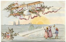 GRANDE SEMAINE D' AVIATION - ROUEN - 19 26 JUIN 1910 - CARTE FANTAISIE TRES RARE - - Reuniones